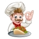 Cartoon Chef with Kebab