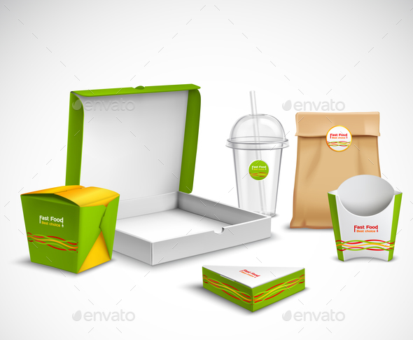 GraphicRiver Packaging Fast Food Realistic Set 20894778