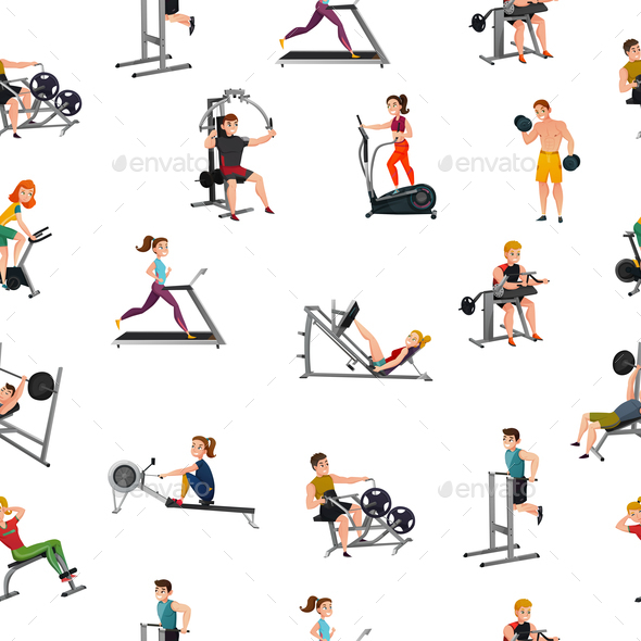 GraphicRiver Exercise Equipment Seamless Pattern 20894788