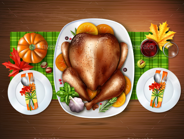 Realistic Top Turkey Composition - Food Objects