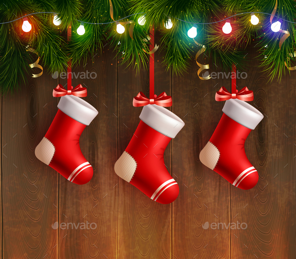 Three Red Christmas Stockings - Christmas Seasons/Holidays