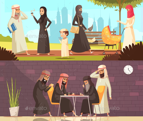 Arabs Work Family Banners Set - Religion Conceptual