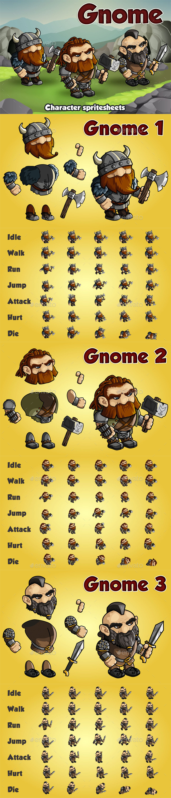GraphicRiver Gnome 2D Game Character Sprite Sheet 20895027