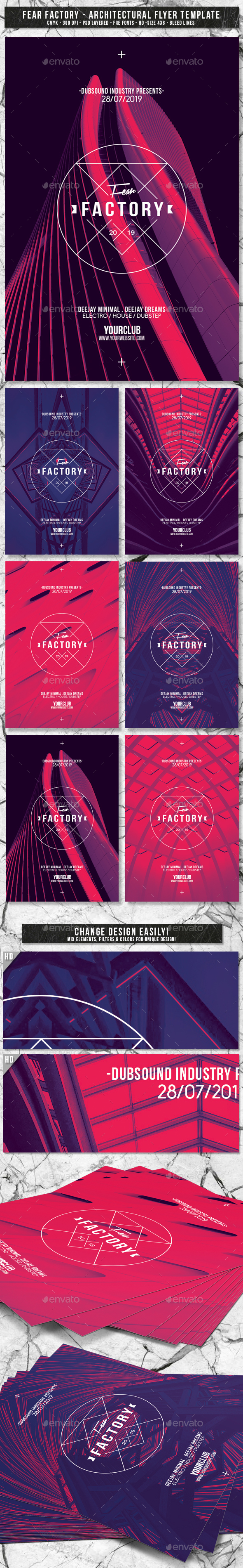 Fear Factory | 6in1 Architectural Flyer PSD Template - Events Flyers