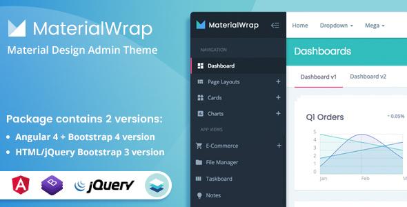 Material Wrap - Material Design Multipurpose Admin Theme - Admin Templates Site Templates