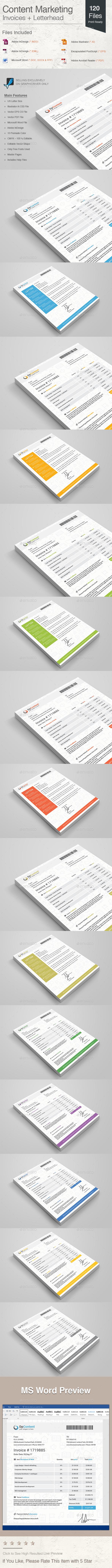 GraphicRiver Content Marketing Invoices & Letterhead 20895566