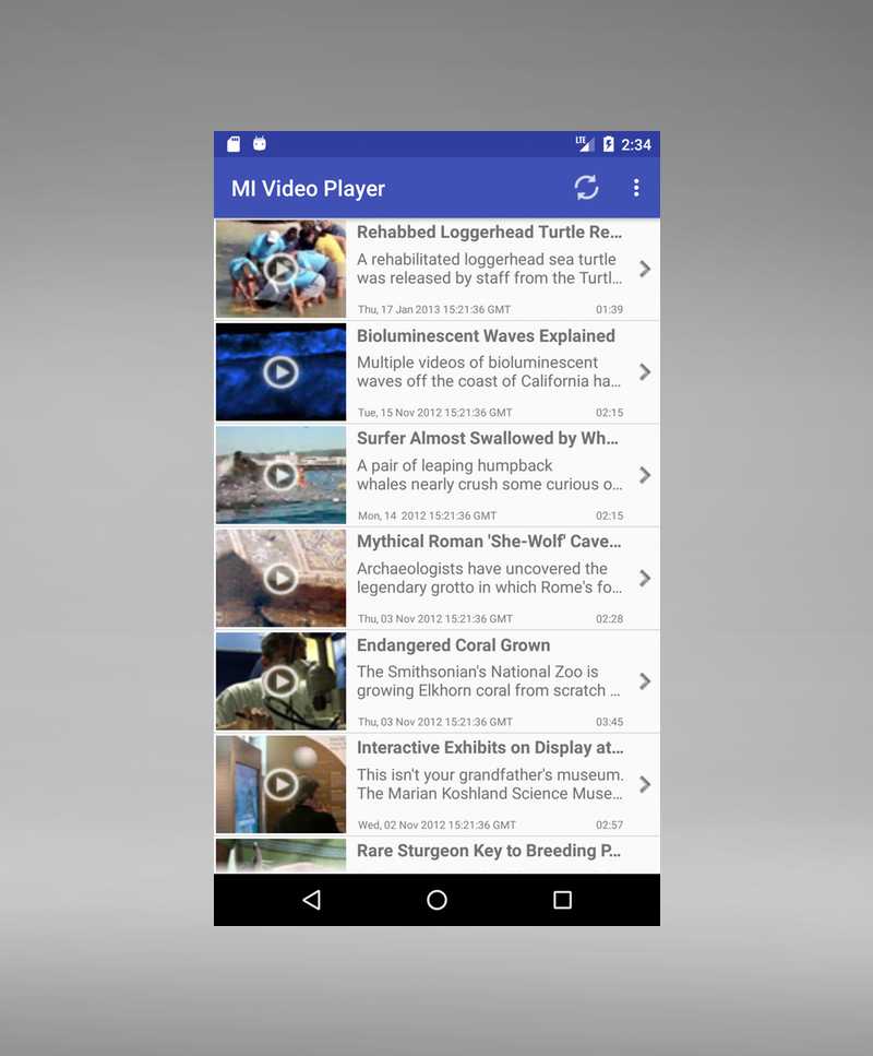 Video Player for Android - List view