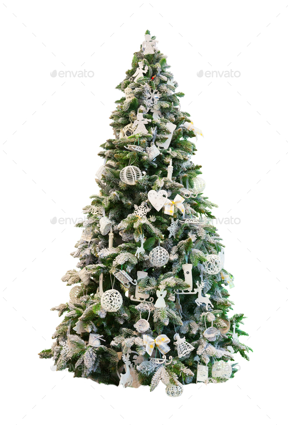 Christmas Tree Backgrounds.Decorated Xmas Tree White Background