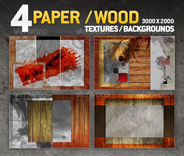 4 paper / wood textures / backgrounds - Paper Textures