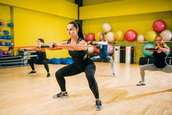 Women group on fitness training, aerobic - Stock Photo - Images