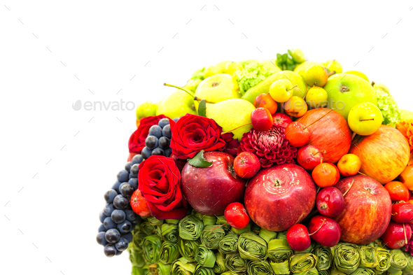 Fruits and flowers composition, fresh harvest - Stock Photo - Images