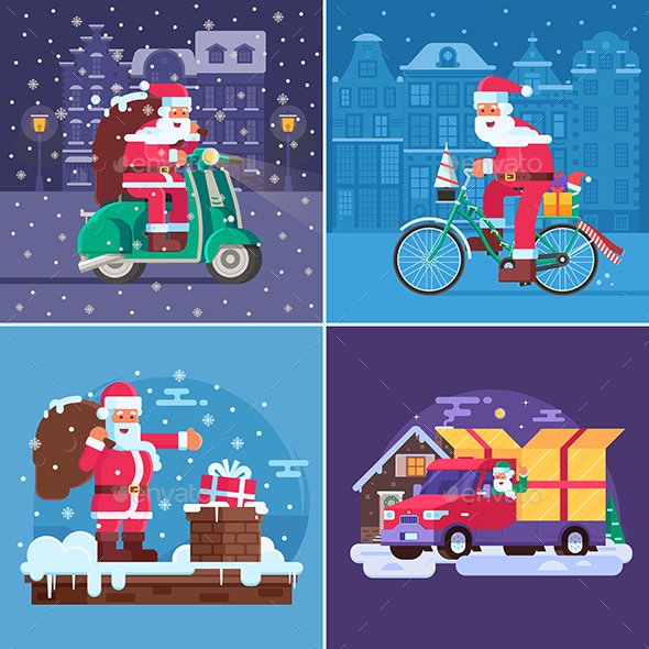 Christmas Gift Delivery Concept Scenes - Seasons/Holidays Conceptual