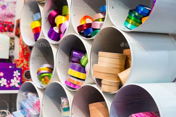 Colorful ribbons closeup, xmas holiday decoration - Stock Photo - Images