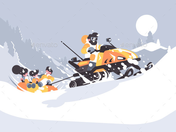 GraphicRiver Man on Snowmobile Drives Children 20895835