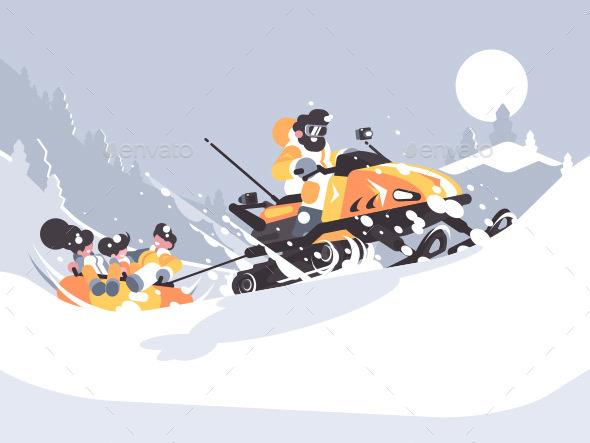 Man on Snowmobile Drives Children - Miscellaneous Vectors