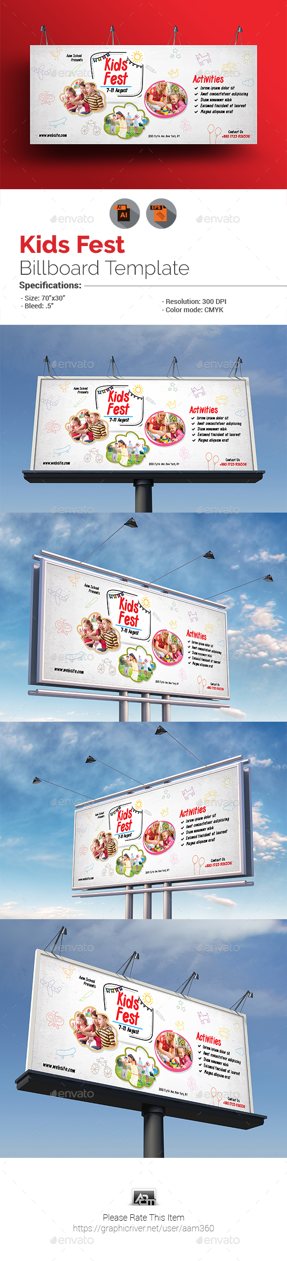 GraphicRiver Kids Festival Billboard Template 20875468