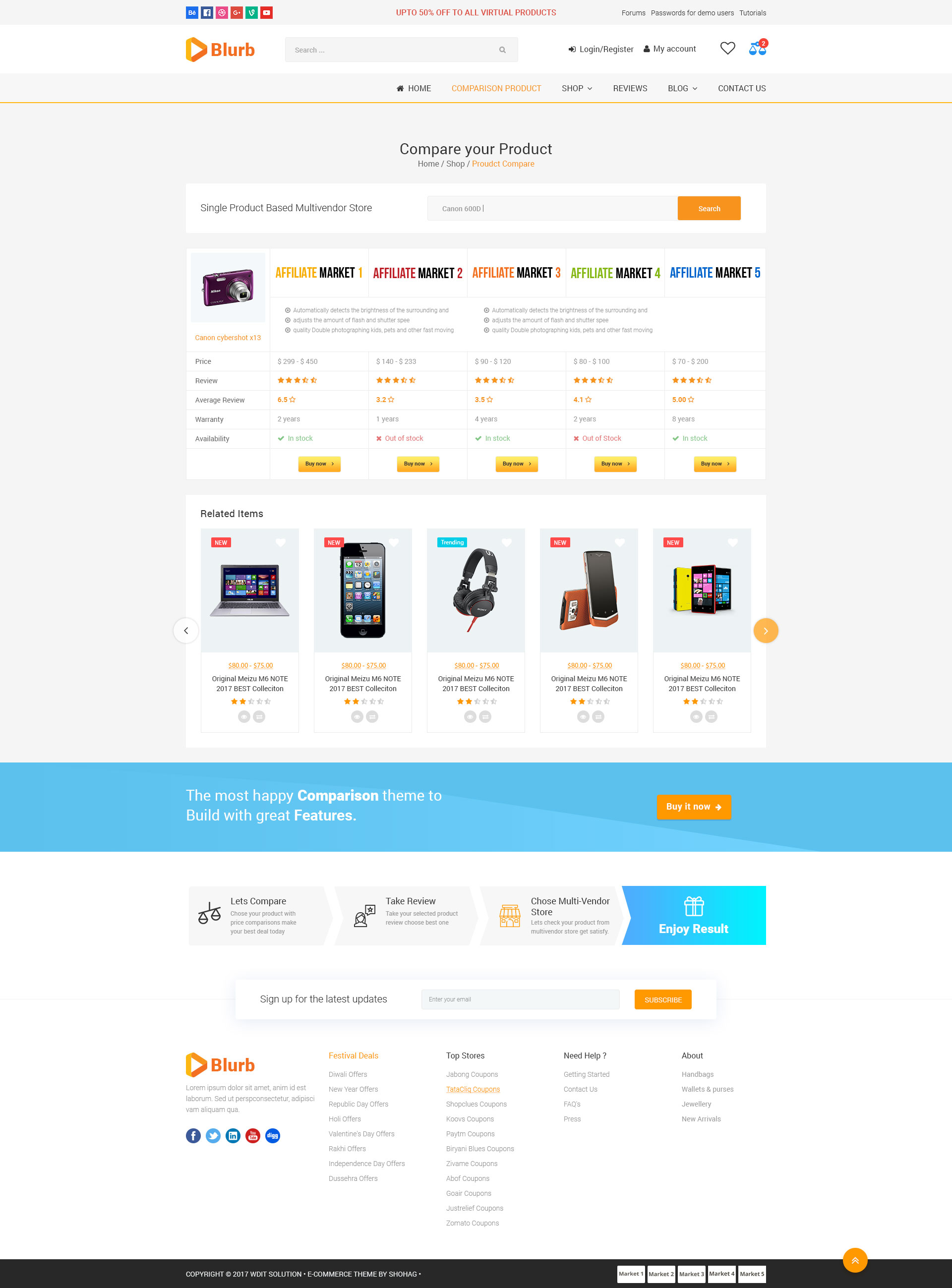 Blurb Price Comparison Affiliate Website Multi Vendor And Product Review Psd Template