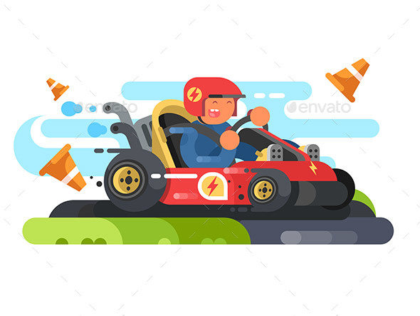 Man Riding Karting Design Flat - People Characters