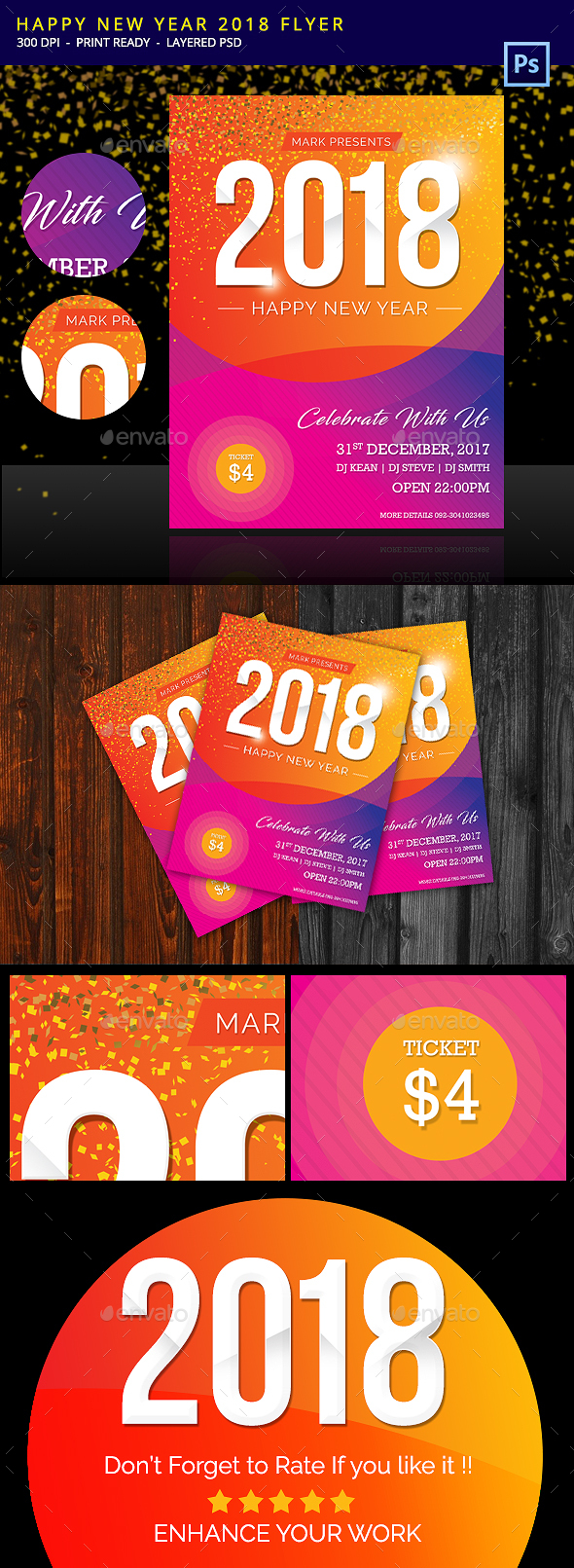GraphicRiver Happy New Year Flyer 2018 20896384