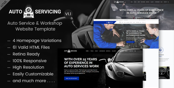 AutoServicing | Automobile, Auto Service, Garage, Workshop HTML Template