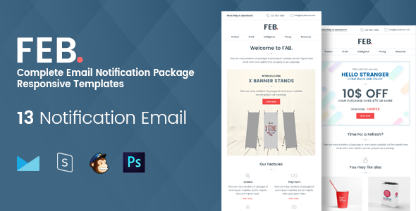 Feb - Complete Email Notification Responsive Templates