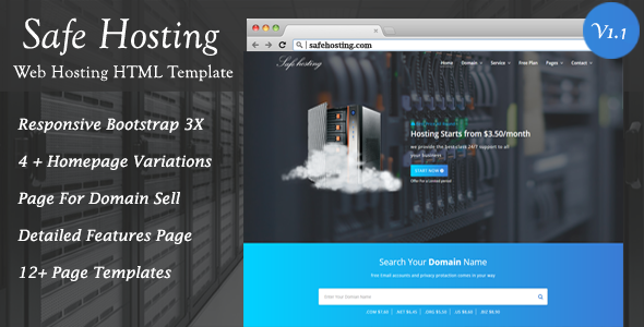 Image of Safe Hosting HTML Template