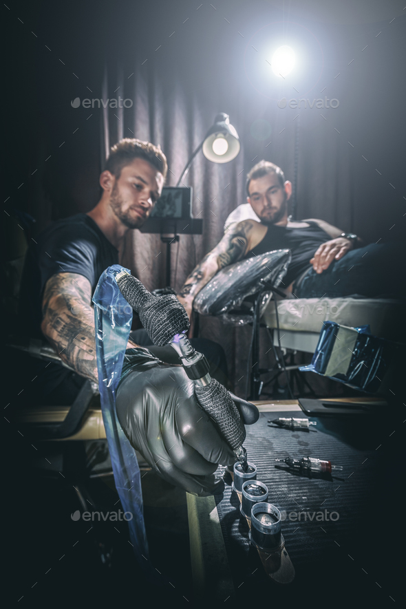 Man tattoo master - Stock Photo - Images