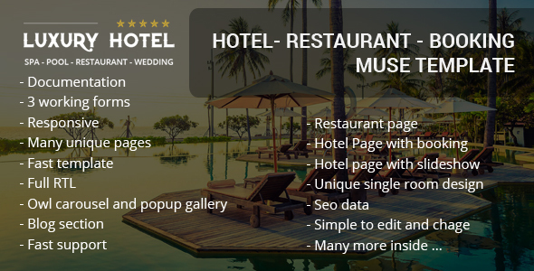 Luxury Rio Hotel Booking Template for Muse