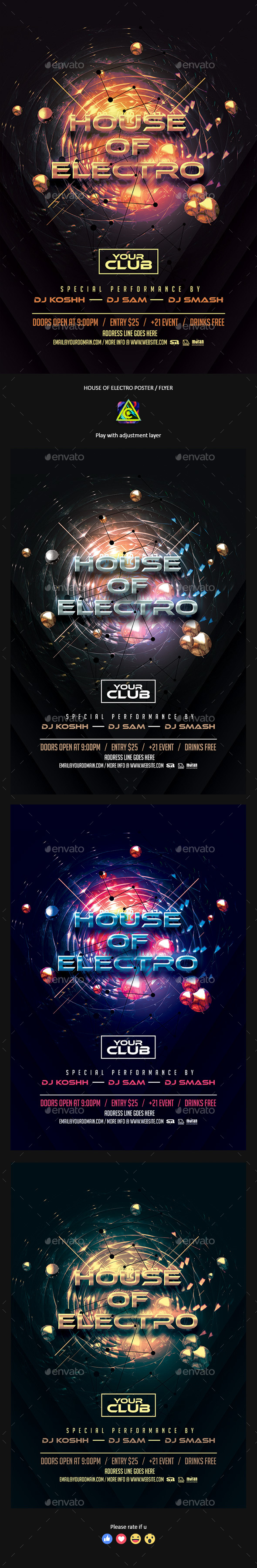 House of Electro Poster / Flyer - Clubs & Parties Events