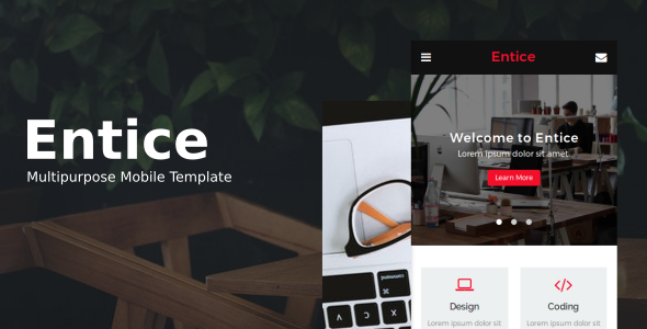 Download Entice - Multipurpose Mobile Template            nulled nulled version