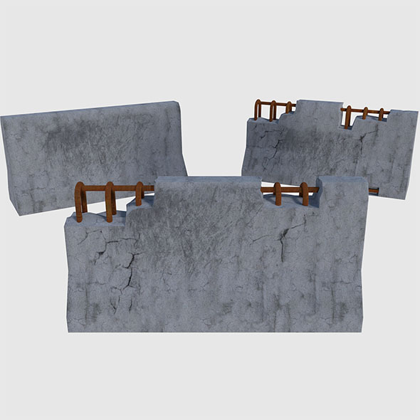 Concrete Road Blocks - Game Ready - 3DOcean Item for Sale