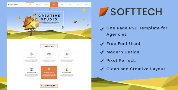 Softtech - Onepage PSD Template - Corporate PSD Templates