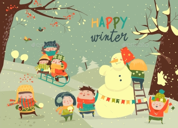 Kids Playing Winter Games - Seasons/Holidays Conceptual
