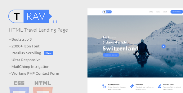 Image of Trav | Travel HTML Landing Page