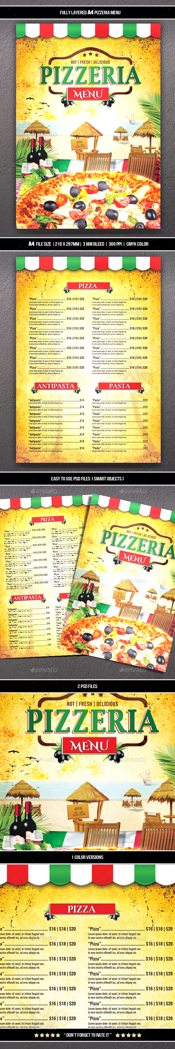 Pizzeria Menu 3 (A4) - Food Menus Print Templates