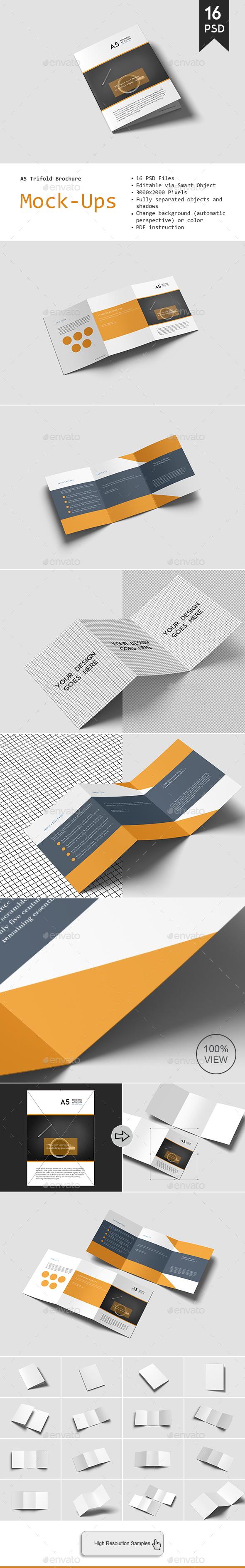 GraphicRiver A5 Trifold Brochure Mockup 20898168
