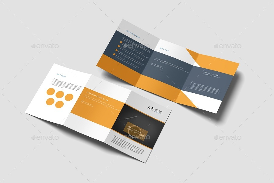 a5 trifold brochure mockup by graphiccrew graphicriver