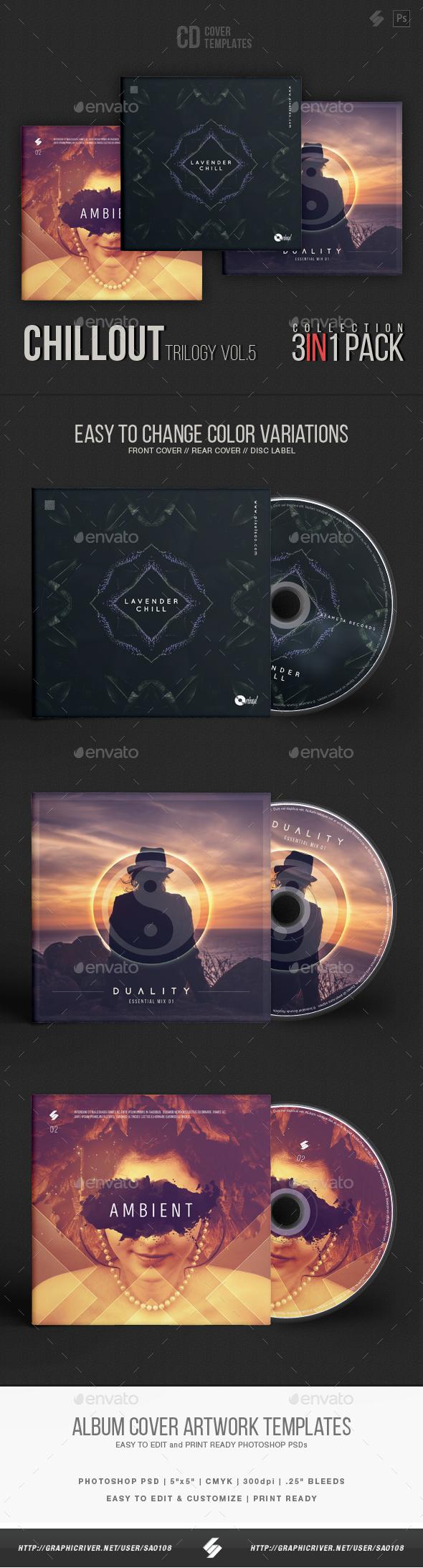 Chillout Trilogy vol.5 - CD Cover Templates Bundle - CD & DVD Artwork Print Templates