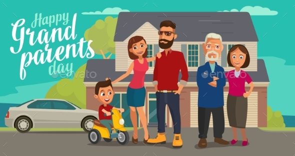 GraphicRiver Happy Family Parents Grandparents and Child 20898422
