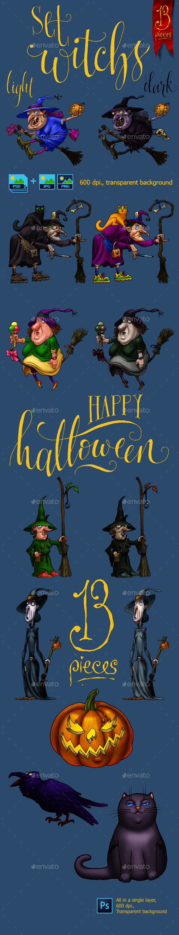 GraphicRiver Funny witchs 20898438