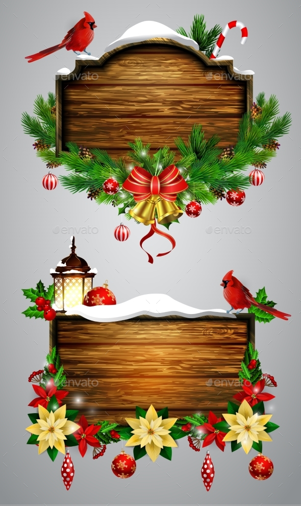 Vector Wooden Christmas Board - Seasons/Holidays Conceptual