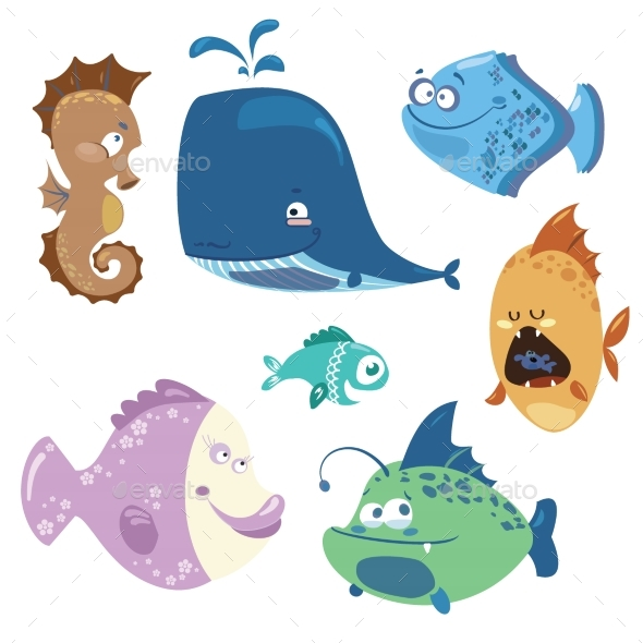Set of Cartoon Fish. Collection of Cute Colored - Animals Characters