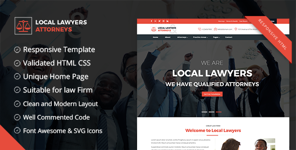 Download Local Lawyers & Attorneys – Business HTML5 Responsive Template for Law Firm