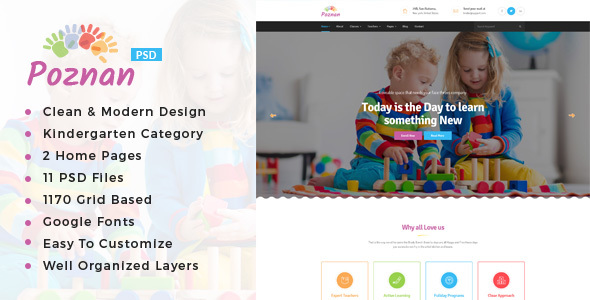 Poznan : Kindergarten PSD Template - Miscellaneous PSD Templates