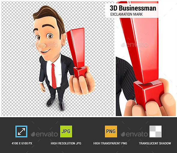 GraphicRiver 3D Businessman Holding Exclamation Mark 20898904
