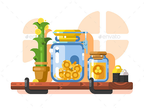 Savings and Storage Golden Coins in Glass Jar - Miscellaneous Vectors
