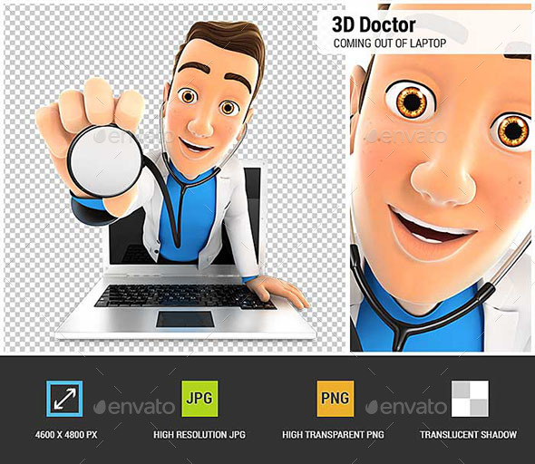 3D Doctor Coming Out of Laptop with Stethoscope - Characters 3D Renders