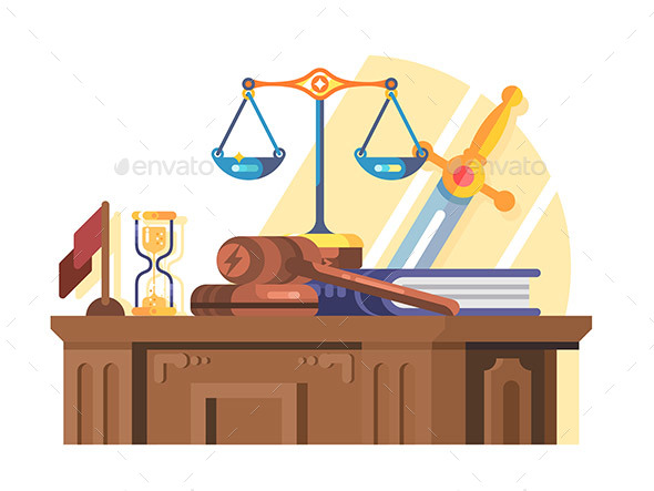 Jurisprudence Court and Law Concept Flat - Miscellaneous Vectors