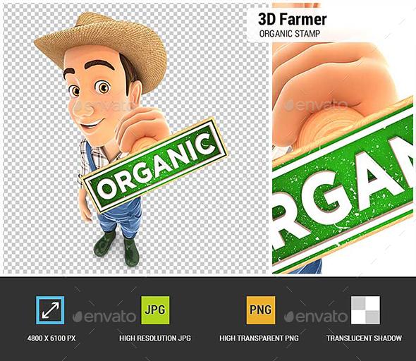 3D Farmer Organic Stamp - Characters 3D Renders