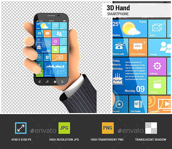 3D Hand Holding Smartphone - Characters 3D Renders